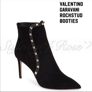 NIB Valentino Black Suede Rockstud Booties